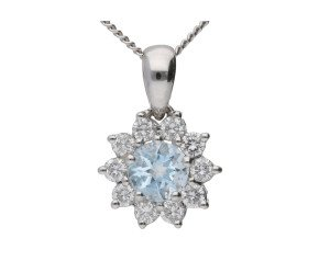 18ct White Gold 0.25ct Aquamarine & 0.30ct Diamond Cluster Pendant