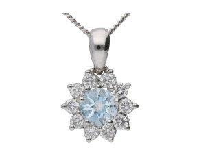 18ct White Gold 0.25ct Aquamarine & 0.30ct Diamond Cluster Pendant