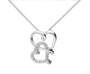9ct White Gold 0.09ct Diamond Double Heart Pendant