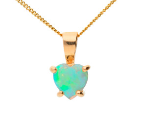 9ct Rose Gold Opal Heart Solitaire Pendant