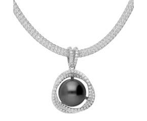 Sterling Silver Tahitian Pearl Orbital Necklace