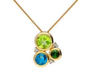 9ct Gold Peridot, Tourmaline, Topaz & Diamond Pendant
