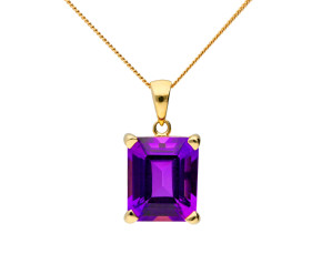9ct Yellow Gold 5ct Amethyst Pendant