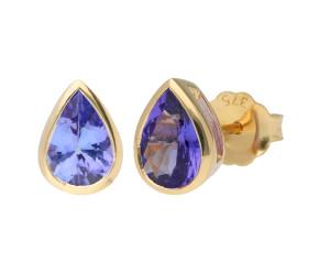 9ct Yellow Gold 1.40ct Tanzanite Solitare Stud Earrings