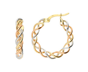 9ct Yellow, Rose & White Gold Twist Hoop Earrings