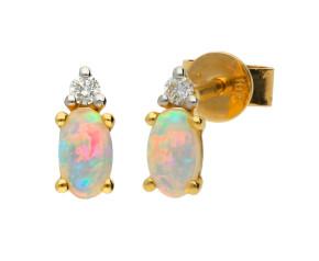 18ct Yellow Gold 0.31ct Opal & 0.04ct Diamond Stud Earrings