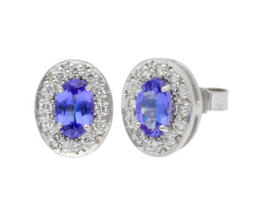 18ct White Gold 0.95ct Tanzanite & 0.20ct Diamond Cluster Stud Earrings