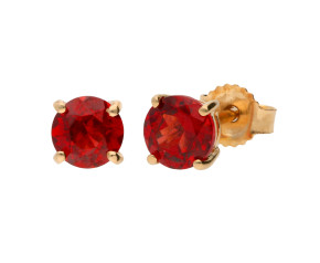 9ct Yellow Gold 1.10ct Round Garnet Solitaire Stud Earrings