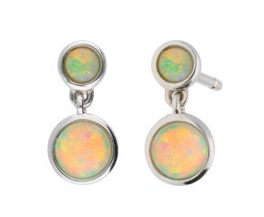 9ct White Gold 0.50ct Opal Double Drop Earrings