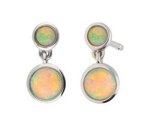 9ct White Gold 0.50ct Opal Double Drop Earrings