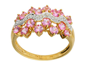 Pre-Owned 9ct Gold Pink Cubic Zirconia & Diamond Cocktail ring
