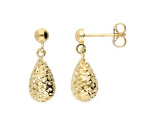 9ct Yellow Gold Pierced Drop Earrings