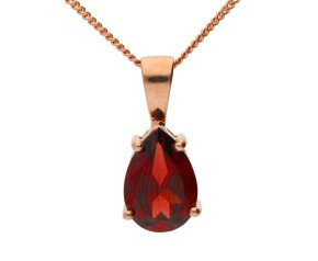 9ct Rose Gold 1.95ct Pear Shaped Garnet Solitaire Pendant