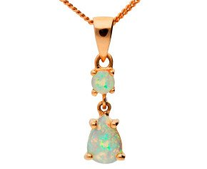 9ct Rose Gold 0.30ct Opal Double Drop Pendant