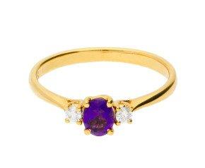 18ct Yellow Gold 0.25ct Amethyst & 0.05ct Diamond Three-Stone Ring