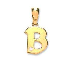 9ct Yellow Gold Diamond Letter 'B' pendant