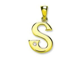 9ct Yellow Gold Diamond Letter 'S' pendant