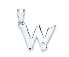 9ct White Gold Diamond Letter 'W' pendant