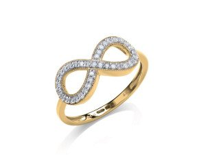 9ct Yellow Gold 0.20ct Diamond Infinity Ring
