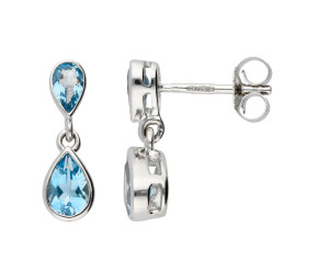 9ct White Gold 1.10ct Aquamarine Double Drop Earrings