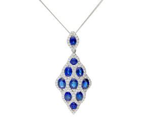 18ct White Gold 3.01ct Sapphire & 0.62ct Diamond Peacock Pendant