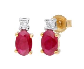 9ct Yellow Gold 1.00ct Ruby & Diamond Stud Earrings