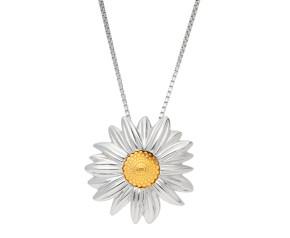 Silver & Yellow Gold Vermeil Marigold Flower Pendant