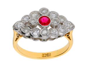 Vintage 1930's 18ct Gold 0.25ct Ruby & 0.76ct Diamond Cluster Ring
