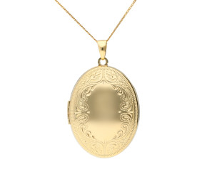 9ct Yellow Gold Intricate Border Oval Locket