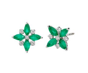 9ct White Gold 0.60ct Emerald & 0.10ct Diamond Flower Stud Earrings