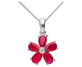 9ct White Gold 1.25ct Ruby & Diamond Flower Cluster Pendant