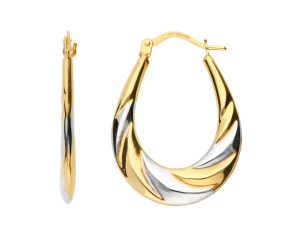 9ct Yellow & White Gold 27mm Hoop Earrings