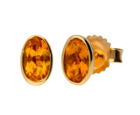9ct Yellow Gold 0.30ct Oval Citrine Solitaire Stud Earrings