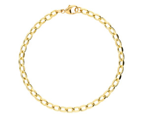 9ct Yellow Gold 4.65mm Oval Filed Belcher Bracelet
