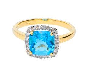 9ct Yellow Gold Topaz & Diamond Halo Ring