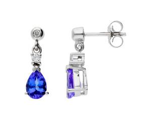 9ct White Gold 1.60ct Tanzanite & Diamond Drop Earrings