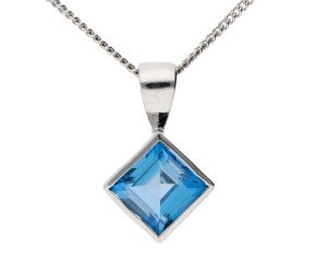 9ct White Gold 0.75ct London Blue Topaz Solitaire Pendant