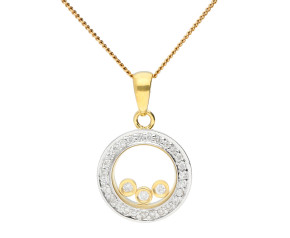 9ct Yellow & White Gold Floating Diamond Pendant