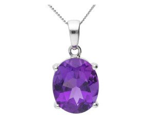 9ct White Gold 4.50ct Amethyst Solitaire Pendant