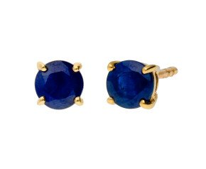 9ct Yellow Gold 1.25ct Round Sapphire Solitaire Stud Earrings