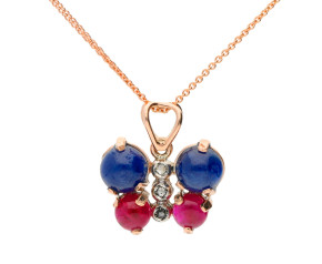 Handcrafted Italian Sapphire, Ruby & Diamond Butterfly Pendant