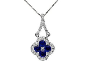 18ct White Gold 0.25ct Sapphire & 0.10ct Diamond Cluster Pendant
