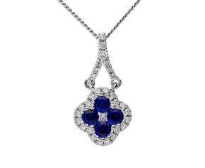 18ct White Gold 0.25ct Sapphire & 0.10ct Diamond Cluster Pendant