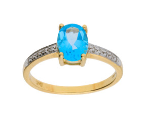 9ct Yellow Gold 0.55ct Topaz & Diamond Dress Ring