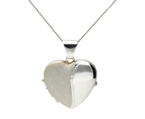 Sterling Silver Satin Heart Locket