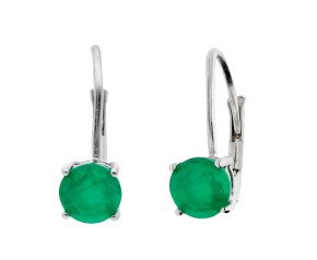 9ct White Gold 1.10cts Emerald Drop Earrings