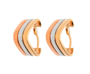 9ct Yellow White & Rose Gold Fancy Triangle Hoop Earrings