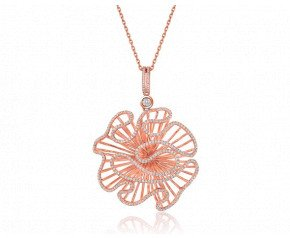 Sterling Silver & 18ct Rose Gold Vermeil Cascade Large Pendant