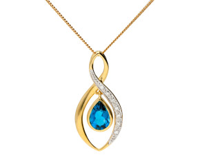 9ct Gold Topaz & Diamond Pendant