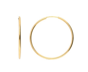 9ct Yellow Gold 33mm Fine Sleeper Hoop Earrings